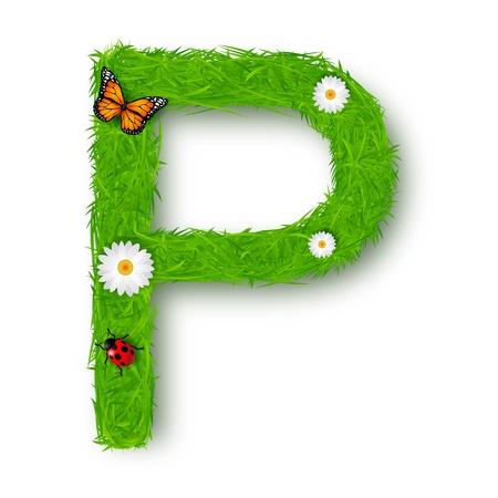 Grass Letter P on white background Vector