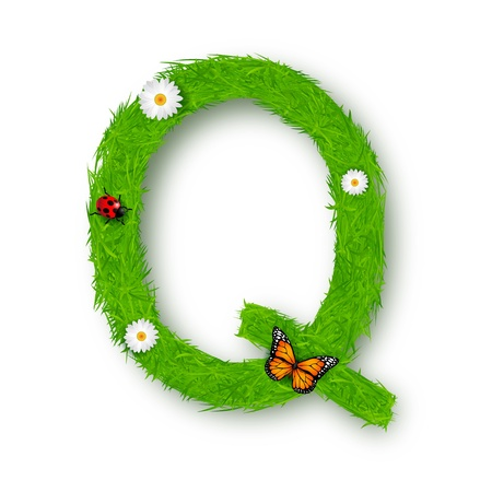 Grass Letter Q on white background Vector