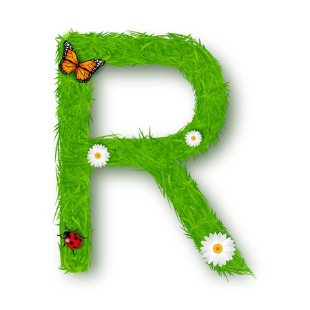 uppercase: Grass Letter R on white background