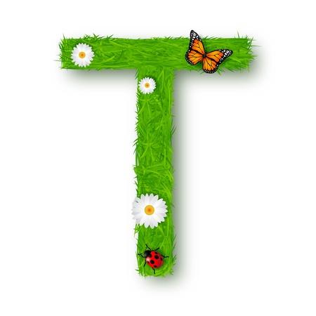 t background: Grass Letter T on white background Illustration