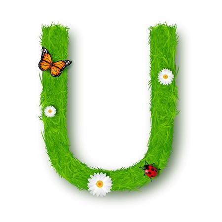 letter u: Grass Letter U on white background Illustration