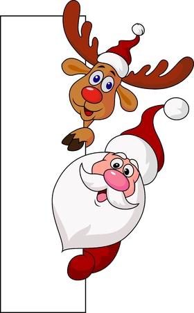 greybeard: Babbo Natale e cervi con il segno in bianco Vettoriali