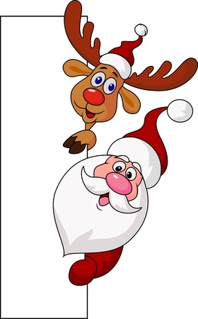 rudolf: Santa clause and deer with blank sign