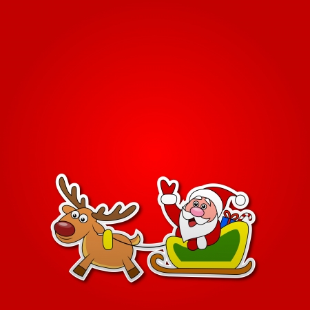 sleds: paper cut of Santa drives his sleigh  Illustration