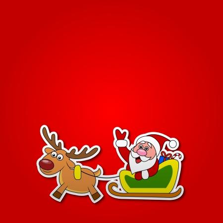 new year s santa claus: paper cut of Santa drives his sleigh  Illustration