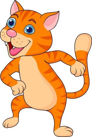 tanzen cartoon: Nette Katze tanzen