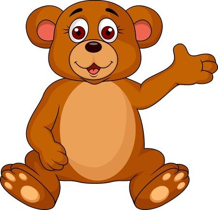 Cute bear cartoon waving  Stock Vector - 18586415