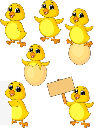 Cute baby chicken cartoon set Vector