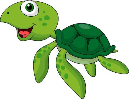 green sea turtle: Cute sea turtle cartoon Illustration
