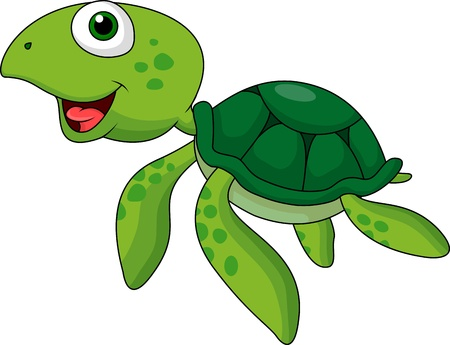 tortuga caricatura: Lindo mar dibujos animados tortuga