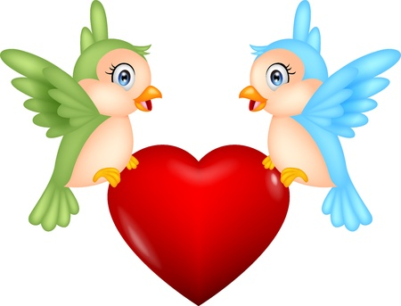 Bird with love heart Stock Vector - 18586437