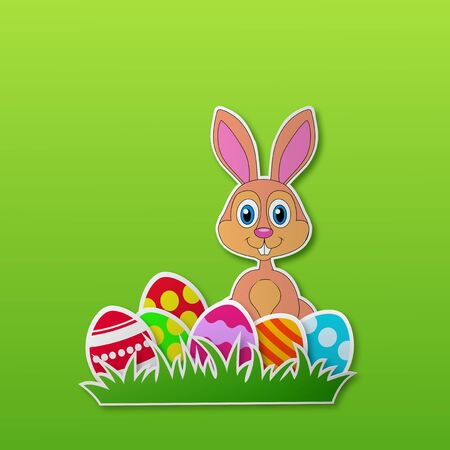 Paper card with rabbit and Easter egg  Vector