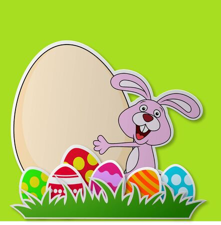 greeting card background: Paper card with rabbit and Easter egg