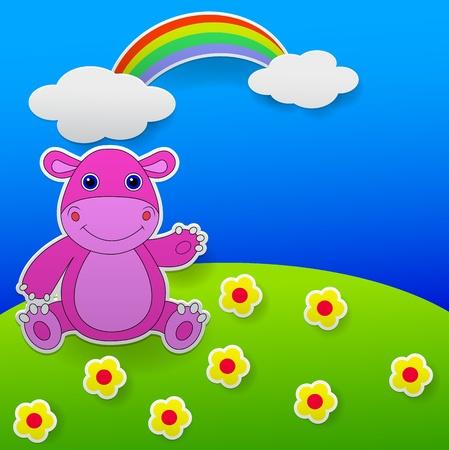 hipopotamo caricatura: Tarjeta de felicitaci�n con dibujos animados hipop�tamo Vectores