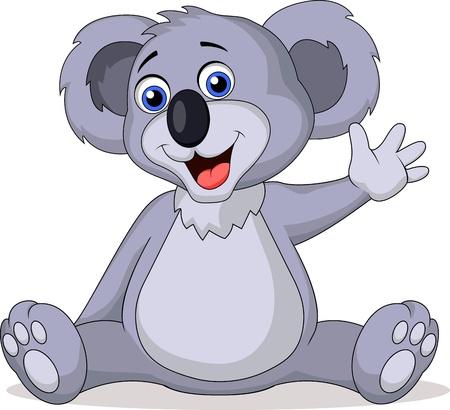koala: Koala linda caricatura agitando la mano