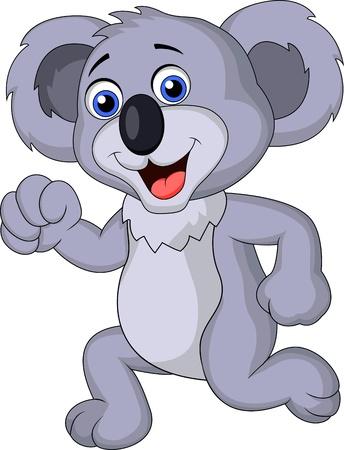 running nose: Cute koala cartoon running  Illustration