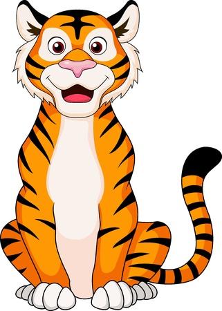 Cute cartoon siedzi tygrys