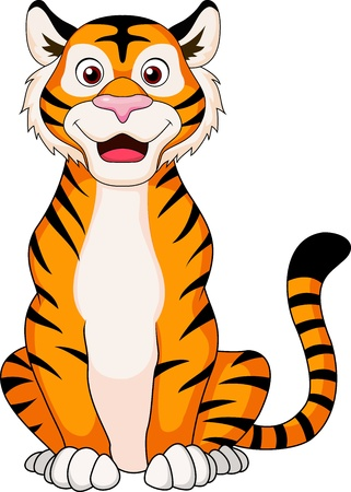 Cute tiger cartoon sitting  Vettoriali