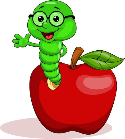 oruga: Gusano y manzana