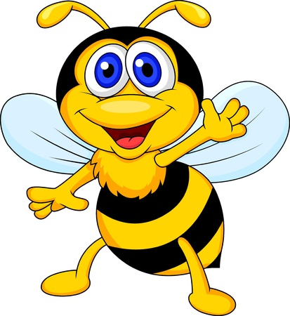 bee on white flower: Cute bee cartoon waving