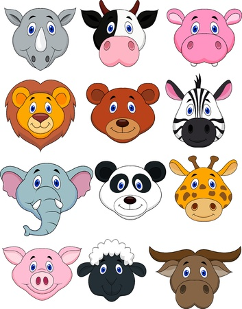 zebra heads: Cartoon animal head icon