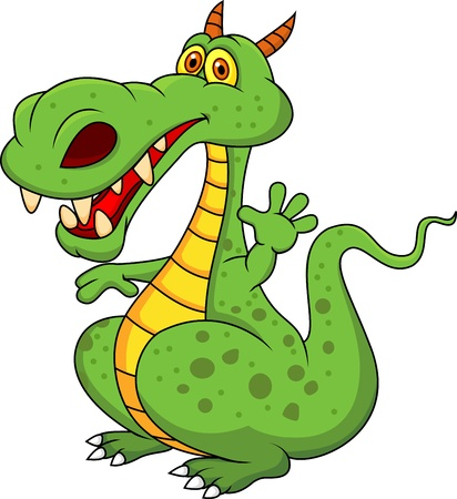 darling: Cute green dragon cartoon  Illustration