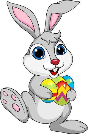 bunny rabbit: Cute rabbit with ester egg
