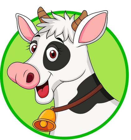 cow head: Cute cow cartoon Illustration