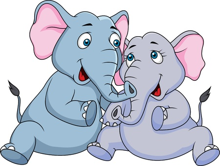 Cute couple elephant cartoon