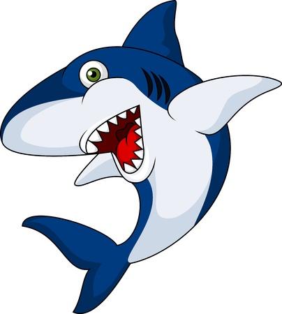 Smiling shark cartoon  Ilustração