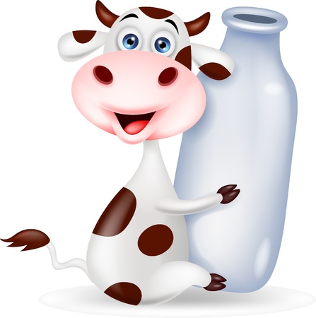 milk fresh: Cute cow cartoon with milk bottle