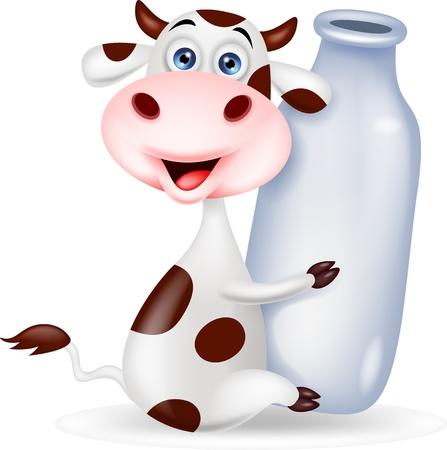 vaca caricatura: Vaca de dibujos animados lindo con la botella de leche