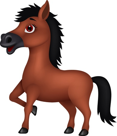 smirk: Brown cartoon horse