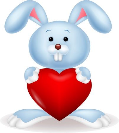 nice day: Rabbit with red heart