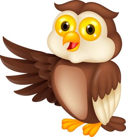ojos caricatura: Owl agitando dibujos animados