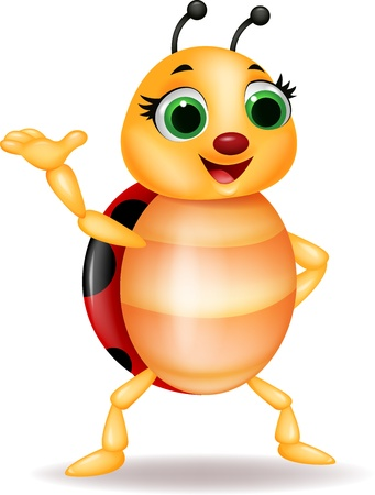 cartoon bug: Funny ladybug cartoon waving hand