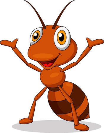 hormiga: Lindo hormiga agitando dibujos animados