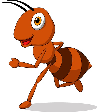red ant: Cute ant cartoon running Illustration