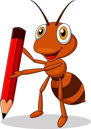 hormiga caricatura: Lindo de la historieta hormiga con lápiz rojo