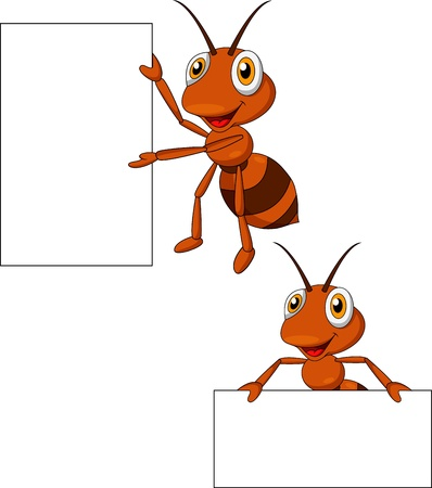 red ant: Cute ant cartoon with blank sign Illustration