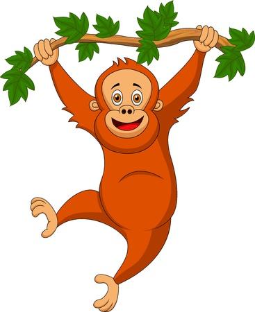 木の枝にぶら下がっているかわいいオランウータン漫画  イラスト・ベクター素材
