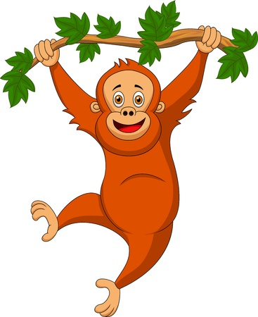 fur trees: Cute orangutan cartoon hanging on a tree branch