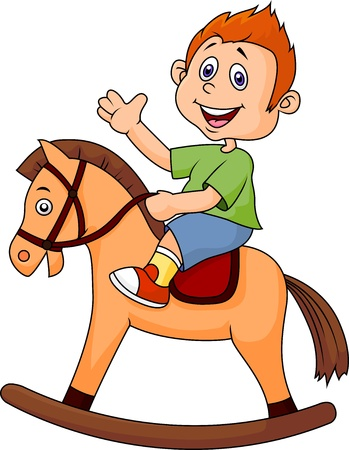 old horse: cartoon boy riding a horse toy