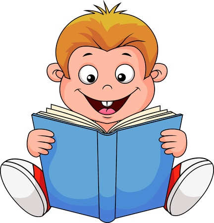 student reading: Cartoon boy reading a book