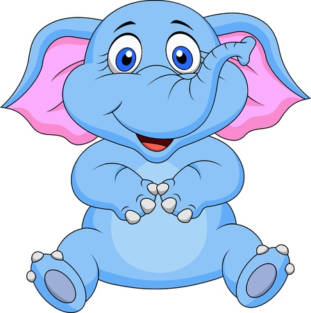 animal: Cute elephant cartoon sitting