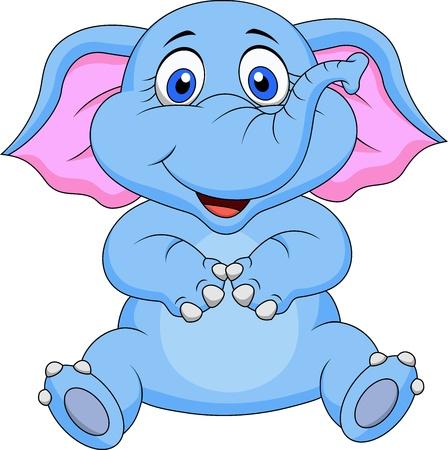 elefante cartoon: Dibujos animados elefante lindo que se sienta Vectores