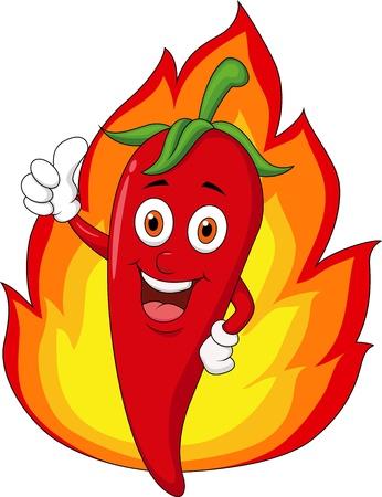 Dibujos animados de chile rojo con la llama Ilustración de vector