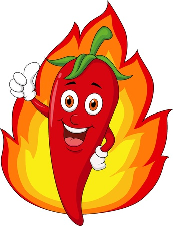 hot peppers: Red chili cartoon with flame