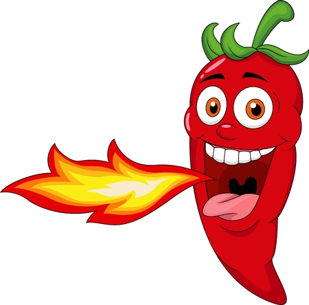 spicy: Chili Cartoon Character Breathing Fire  Illustration