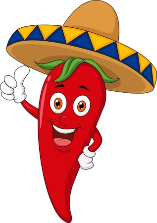 red jalapeno: Chili cartoon with sombrero hat Illustration